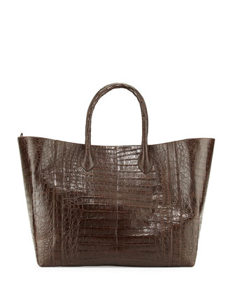 Crocodile Convertible Tote Bag, Chocolate Matte