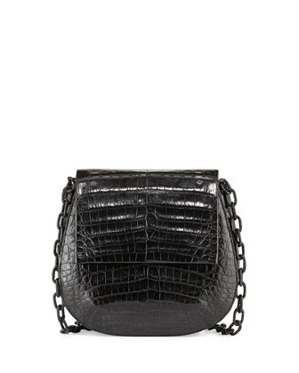 Round Flap-Top Crocodile Crossbody Bag, Black Matte