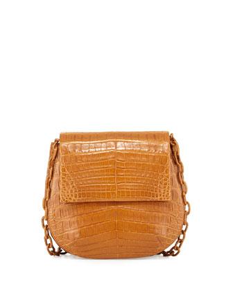 Round Flap-Top Crocodile Crossbody Bag, Saddle