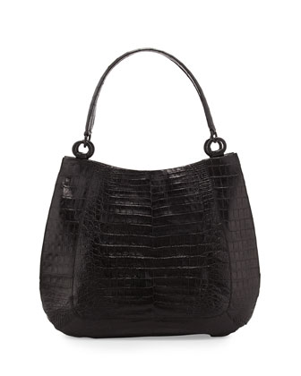 Medium Crocodile Hobo Bag, Black