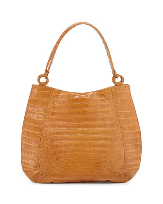 Crocodile Medium Soft Hobo Bag, Saddle Matte