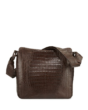 Crocodile Medium Messenger Bag, Chocolate Matte