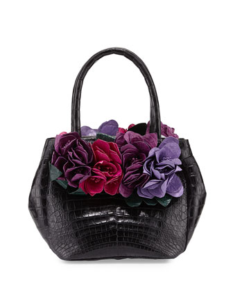 Floral-Detail Crocodile Small Tote Bag, Black/Multi