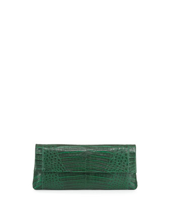 Gotham Crocodile Clutch Bag, Green Matte