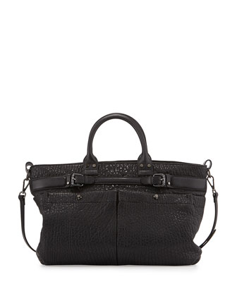Kira Bubble Leather Satchel Bag, Black