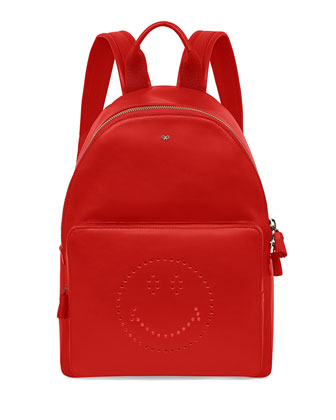 Smiley Leather Backpack, Red