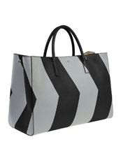 Ebury Maxi Featherweight Chevron Tote Bag, Black/Silver Reflective