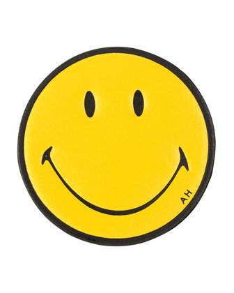Smiley Face Leather Sticker for Handbag, Mustard