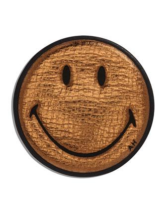 Smiley Metallic Leather Sticker for Handbag, Gold