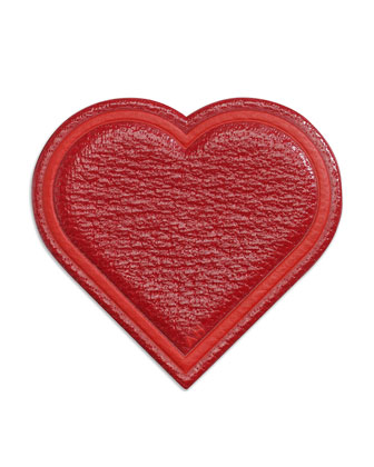 Leather Heart Sticker for Handbag, Red