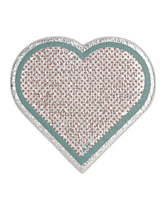 Leather Heart Sticker for Handbag, Silver