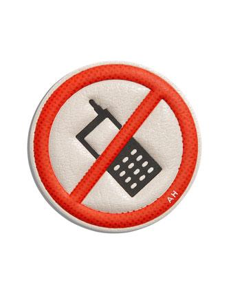 No Mobile Sticker for Handbag, Red/White