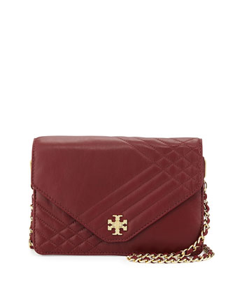 Kira Quilted Crossbody Bag, Red Agate