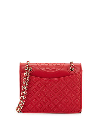 Fleming Quilted Medium Flap Shoulder Bag, Kip Royale