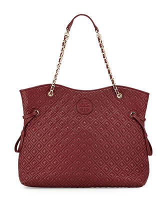 Marion Quilted Slouchy Tote Bag, Red Agate
