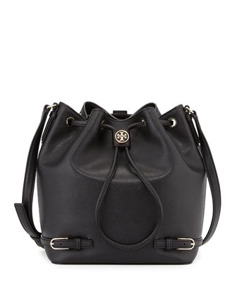 Robinson Leather Bucket Bag, Black