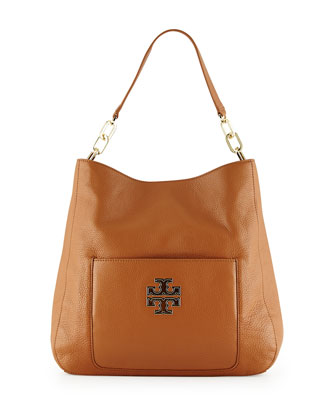 Britten Pebbled Leather Hobo Bag, Bark