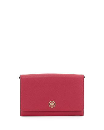 Robinson Saffiano Wallet-on-a-Chain, Raspberry