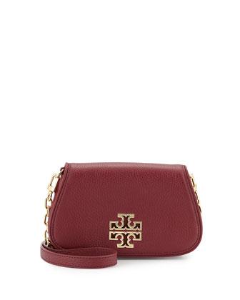 Britten Mini Leather Crossbody Bag, Red Agate
