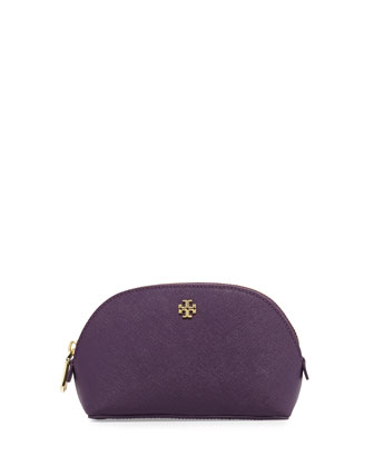 York Small Leather Makeup Bag, Purple Iris