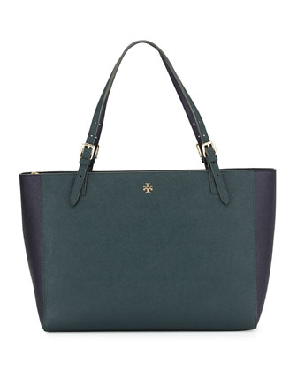 York Saffiano Leather Tote Bag, Jitney Green/Navy
