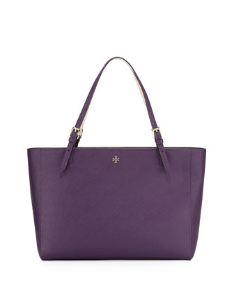 York Saffiano Leather Tote Bag, Purple Iris