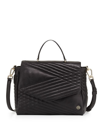 797 Quilted Lambskin Satchel Bag, Black