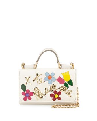 Flower Crossbody iPhone Wallet, White Multi