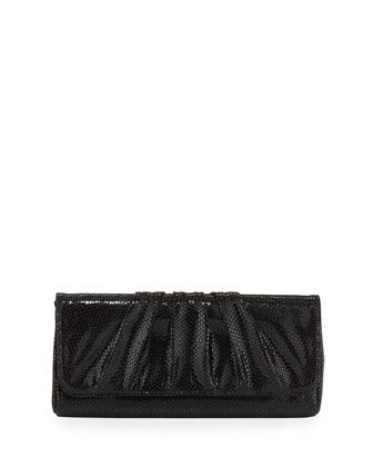 Caroline Suede Snap Clutch Bag, Black