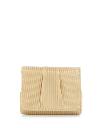 Mini Caroline Embossed Clutch Bag, Tan