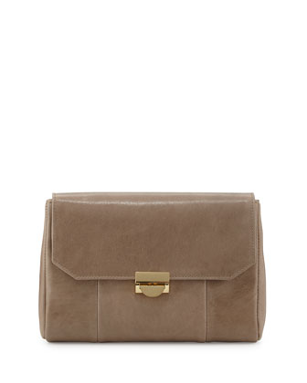Marlow Mini Leather Clutch Bag, Taupe