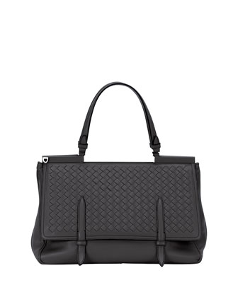 Intrecciato Medium Flap Bag, Black
