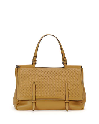 Intrecciato Medium Flap Bag, Camel