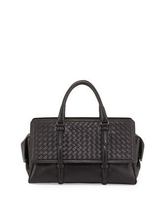 Monaco Small Intrecciato Satchel Bag, Black