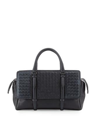 Monaco Snakeskin Satchel Bag, Navy