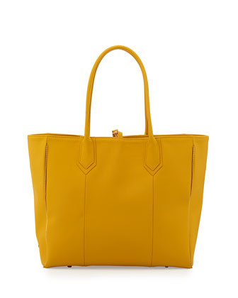 Reese Zipper-Trim Leather Tote Bag, Yellow