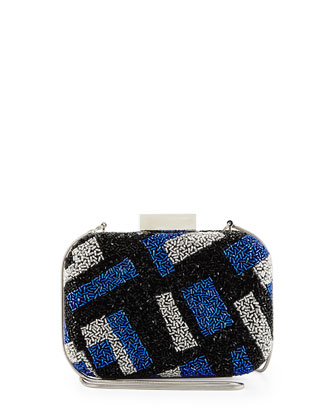 Melanie Beaded Minaudiere Evening Clutch Bag, Blue Multi