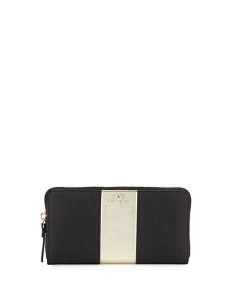 cedar street lacey racing-stripe wallet, black/gold