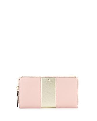 cedar street lacey racing-stripe wallet, rose jade/gold