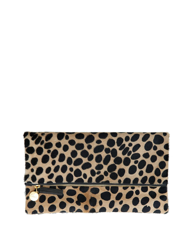 Leopard-Print Fur Clutch Bag, Leopard - Clare V.