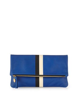 Supreme Striped Fold-Over Clutch Bag, Ultramarine/Black