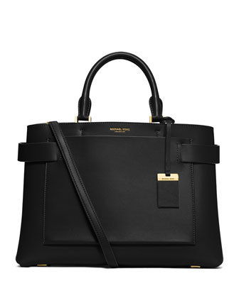 Audrey Large French Calfskin Satchel Bag, Black
