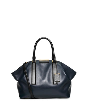 Lexi Large East-West Satchel Bag, Navy/Black