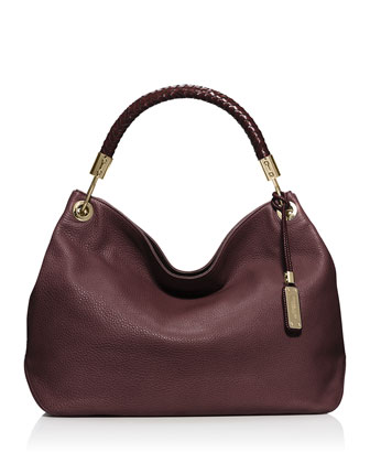Skorpios Large Grained Shoulder Bag, Bordeaux