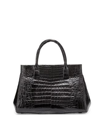 Crocodile Medium Soft Lady Bag, Black Shiny
