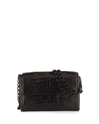 Crocodile Small Chain-Strap Shoulder Bag, Black Matte