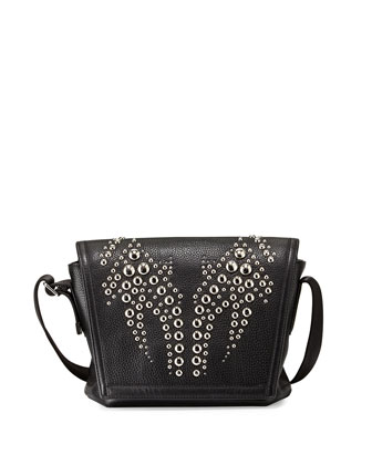 Runway Studded-Flap Messenger Bag, Black