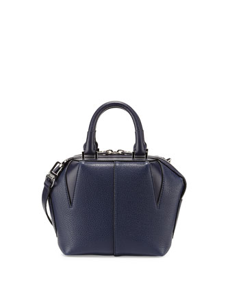 Mini Emile Pebbled Leather Tote Bag, Navy