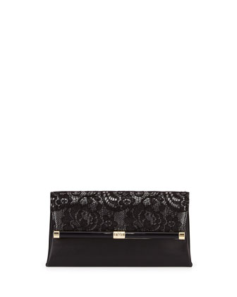 440 Lace/Leather Evening Clutch Bag, Black/Anthracite