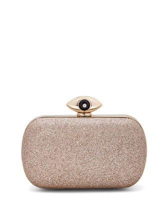 Evil Eye Glitter Minaudiere Evening Clutch Bag, Sand